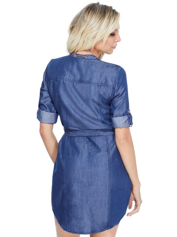 Guess džínové bavlněné šaty Maddy dark wash  b2bf673d1ae