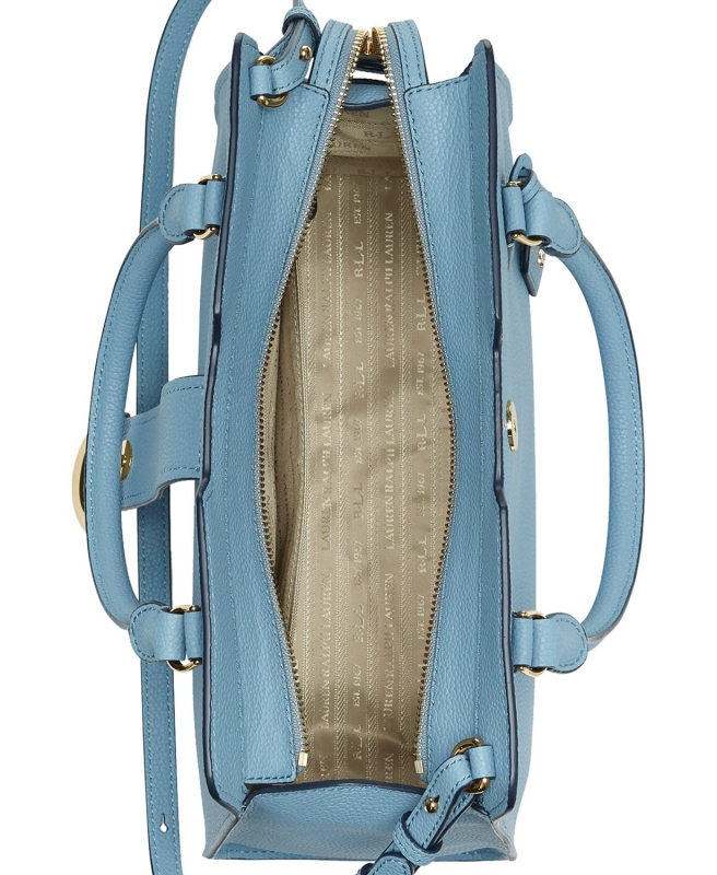 8d9a75f580 Ralph Lauren kožená kabelka Kenton satchel navy
