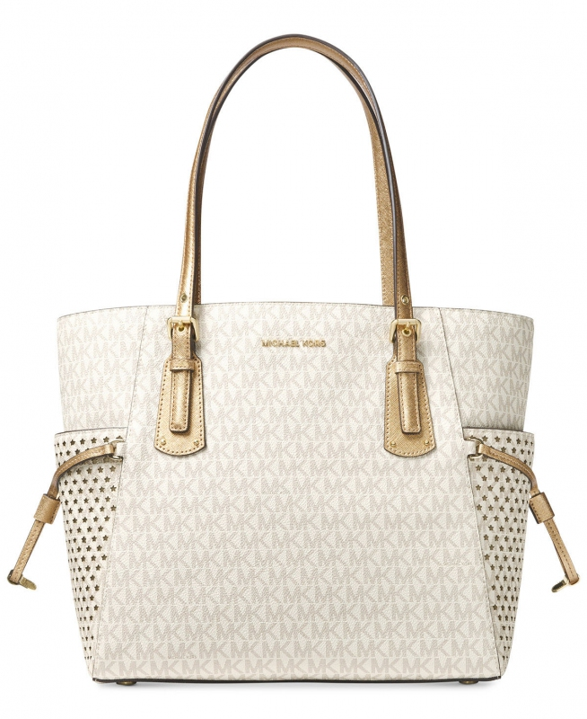Michael Kors Voyager east west signature tote vanilla gold  b38f26cd257