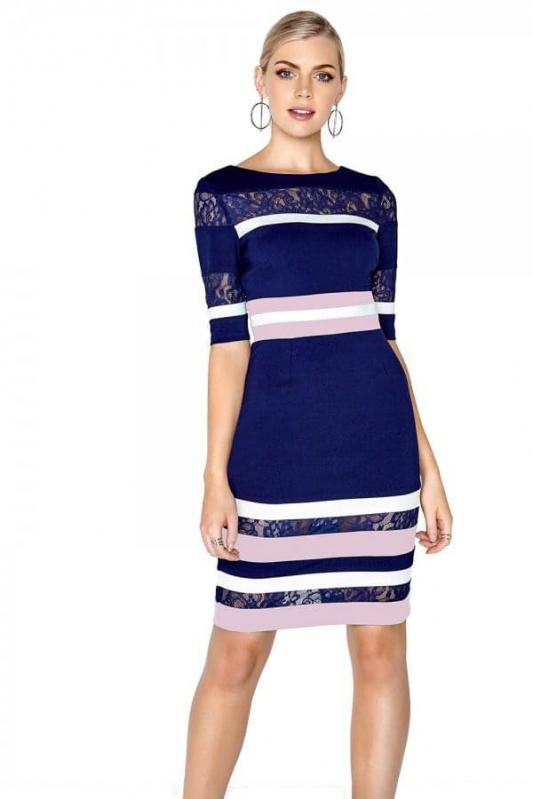 2f74366b19f0 Paper Dolls modré šaty s 3 4 rukávem s pruhy - Livien.sk