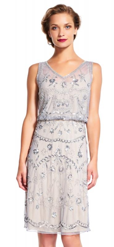 Adrianna Papell luxusní krátké šaty s třpytivou aplikací silver grey ... 1562b68f44