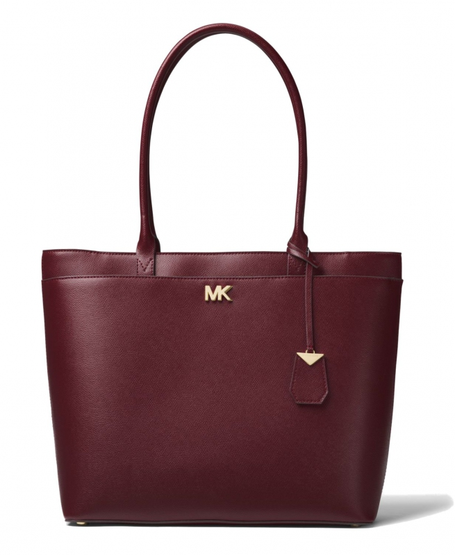 Michael Kors Maddie large crossgrain leather tote oxblood  87ab28cb1ce