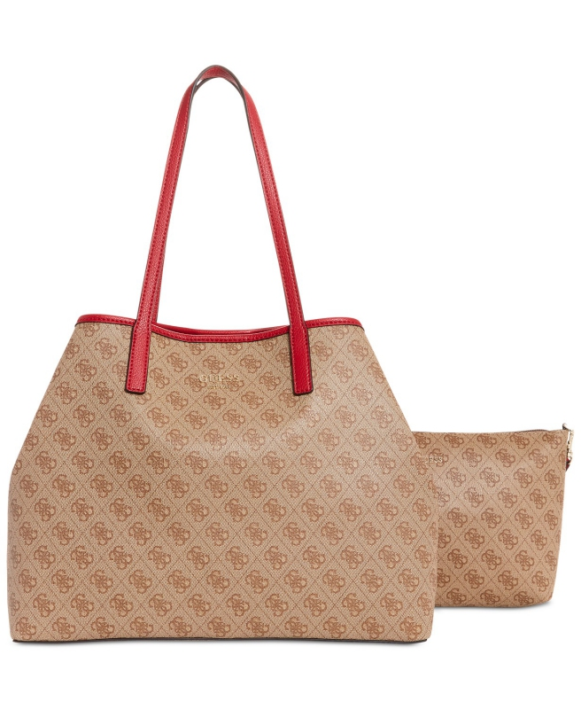 fea237451d GUESS kabelka a pouzdro Vikky large signature brown