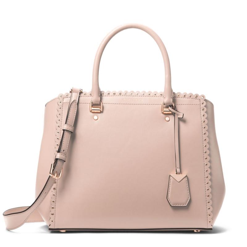 Michael Kors Benning large scalloped leather satchel soft pink ... 117f29db9c7