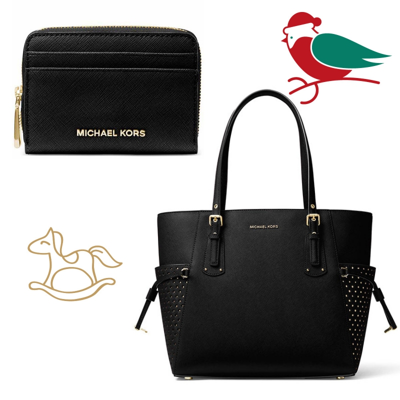e5d3b18f2c Set Michael Kors saffiano leather black gold - kabelka a peněženka ...