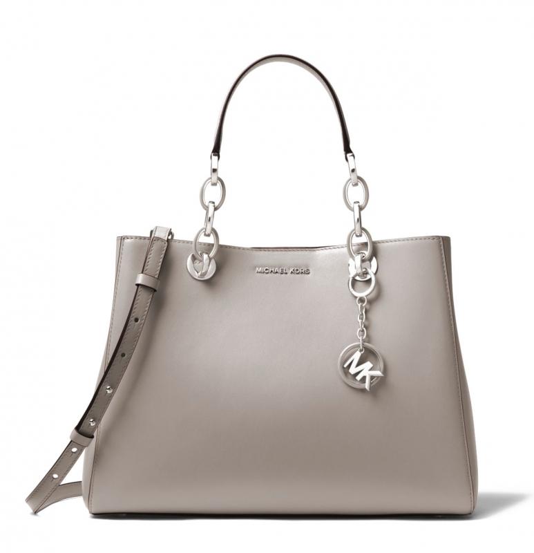 Michael Kors kabelka Cynthia medium leather pearl gray  4de7dc296fb