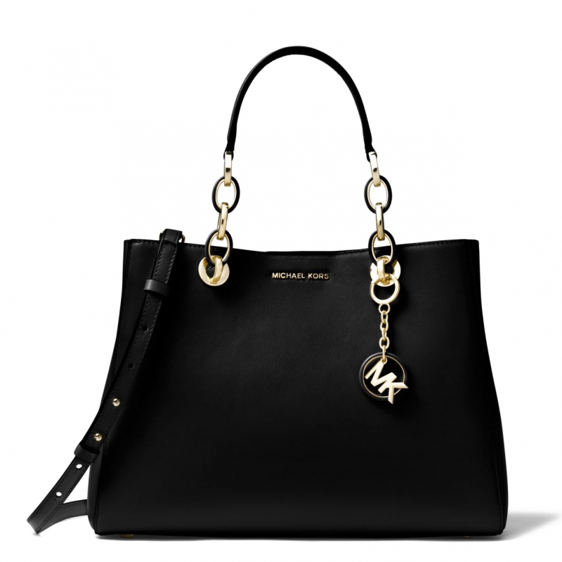 Michael Kors kabelka Cynthia medium leather black  4c0df10224a