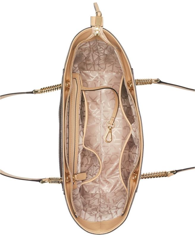 Calvin Klein kabelka Hayden signature tote na řetízku přes rameno vanilla  almond b40696c0749