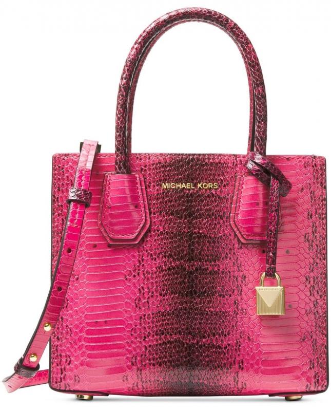 6ac4f398d4 Michael Kors Mercer kabelka python embossed leather medium messenger ultra  pink