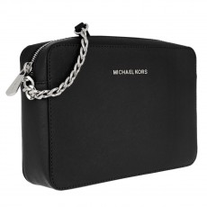 Michael Kors jet set large crossbody kabelka black/silver