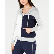Tommy Hilfiger mikina na zip fleece colorblocked white/navy/gray