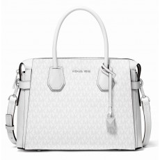 Michael Kors Mercer medium logo belted kabelka bright white