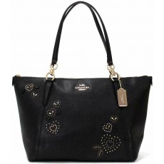 Coach kožená kabelka F66871 Ava Heart Bandana Rivets Black Leather Top Zip