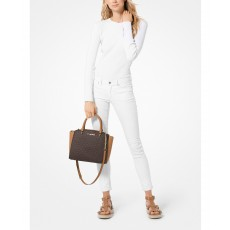 Michael Kors kabelka Ellis medium saffiano satchel signature brown