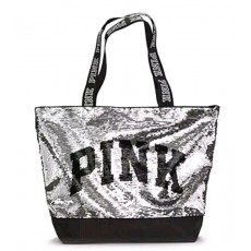 Victoria´s Secret taška silver sequin large tote