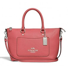Coach Emma mini pebble leather crossbody F31466 coral