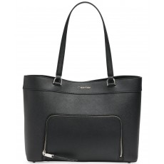 Calvin Klein Louise leather extra-large tote black/silver