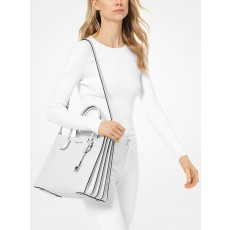 Michael Kors Mercer large accordion bright white