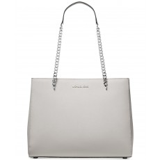 Michael Kors kabelka Ellis large leather shoulder tote aluminium silver