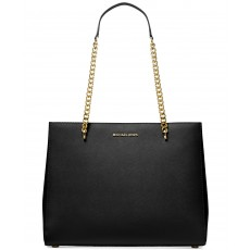 Michael Kors kabelka Ellis large leather shoulder tote black gold