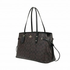 Coach kabelka large signature drawstring brown black F57842