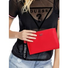 Guess kabelka Bridges logo wristlet red