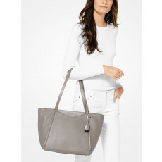 Michael Kors Whitney large leather pearl gray šedá