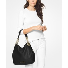 Michael Kors kožená kabelka Lillie chain shoulder bag black gold