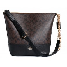 COACH crossbody kabelka Paxton duffle signature brown black F72852