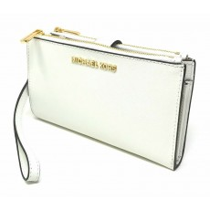 Michael Kors peněženka wristlet saffiano leather double zip white/gold bílá