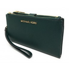 Michael Kors peněženka wristlet saffiano leather double zip racing green zelená