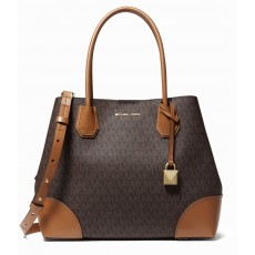 Kabelka Michael Kors Mercer gallery medium satchel signature brown