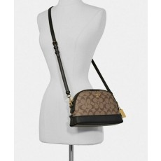 COACH crossbody kabelka dome signature khaki black F76674