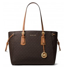 Michael Kors kabelka Voyager medium multifunction top zip signature brown