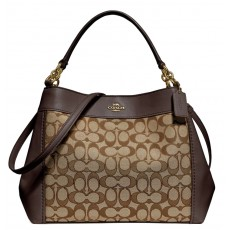 Coach kabelka Lexy jacquard signature brown F29548