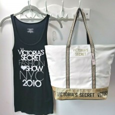 Victoria´s Secret taška canvas tote gold sparkle