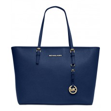 Michael Kors kabelka jet set travel saffiano top zip navy modrá