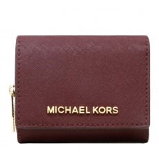 Michael Kors peněženka multifunction small leather merlot červená