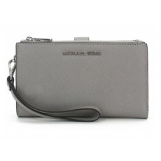 Michael Kors peněženka wristlet saffiano leather double zip pearl gray šedá