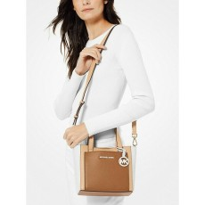 Michael Kors Gemma small messenger tri-color pebbled leather brown multi