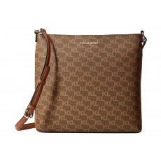 Karl Lagerfeld flat crossbody kabelka Suki monogram brown