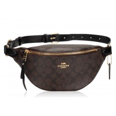 COACH ledvinka kabelka signature black brown F48740