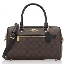 Coach kabelka Rowan satchel signature brown black 83607