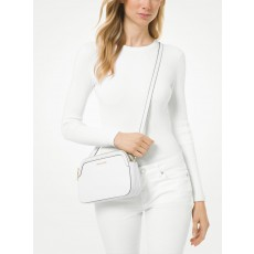 Michael Kors Houston double zip crossgrain leather crossbody bílá