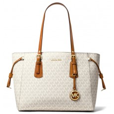 Michael Kors kabelka Voyager medium multifunction top zip signature vanilla