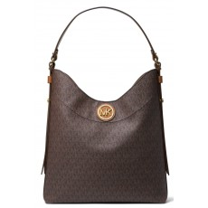 Kabelka Michael Kors Bowery large logo shoulder bag brown hnědá