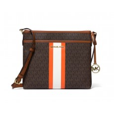 Michael Kors Bedford small logo stripe crossbody brown hnědá