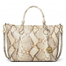 Michael Kors Lenox large python embossed leather kabelka natural combo