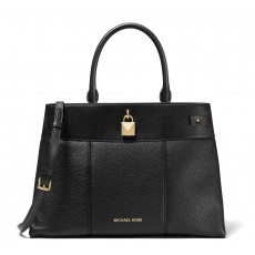 Michael Kors Gramercy large pebble leather satchel black černá
