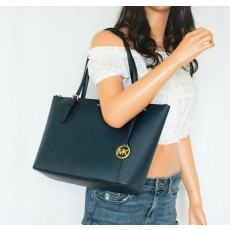 Michael Kors Ciara large saffiano leather navy modrá